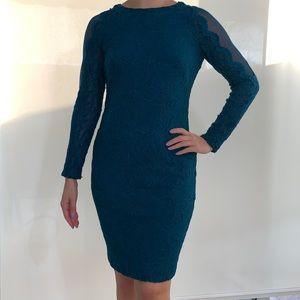 LAUREN Ralph Lauren Blue Lace Long-Sleeve Dress